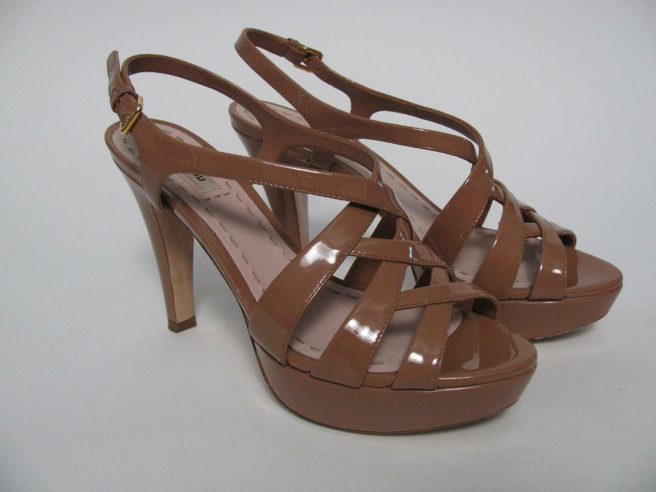 MIU MIU PRADA ITALY SEXY STRAPPY PLATFORM SANDAL PATENT LEATHER SHOES~38