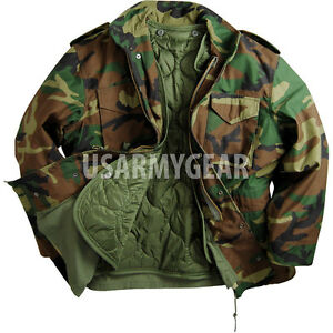 47f22ec37ec Made in USA MILITARY FIELD JACKET Woodland Fatigues ARMY COAT M65 w ...