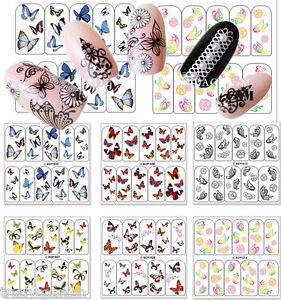 Arte-De-Unas-Stickers-Nail-Art-Agua-calcomanias-transferencias-Mariposas-Butterfly