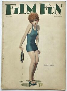 Vintage June 1926 Film Fun Magazine Drenched Flapper Pin-Up Cover Enoch Bolles