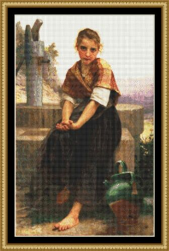 The Broken Pitcher By .William-Adolp IS A 18ct CROSS STITCH CHART 4  DMC THREAD