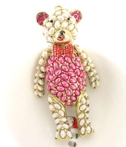 Pearl Big Teddy Bear Keychain Crystal Cute Charm Animal Decoration Gift 01338