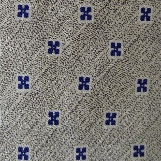 Beige Blau Foulard Seidenkrawatte 3.8