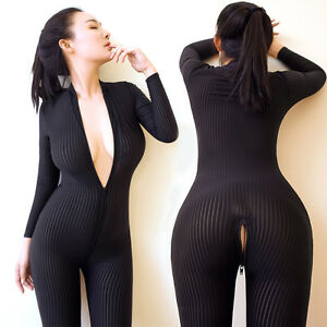 faa8be85a4 Women Black Striped Sheer Bodysuit Smooth Fiber 2 Zipper Long Sleeve ...