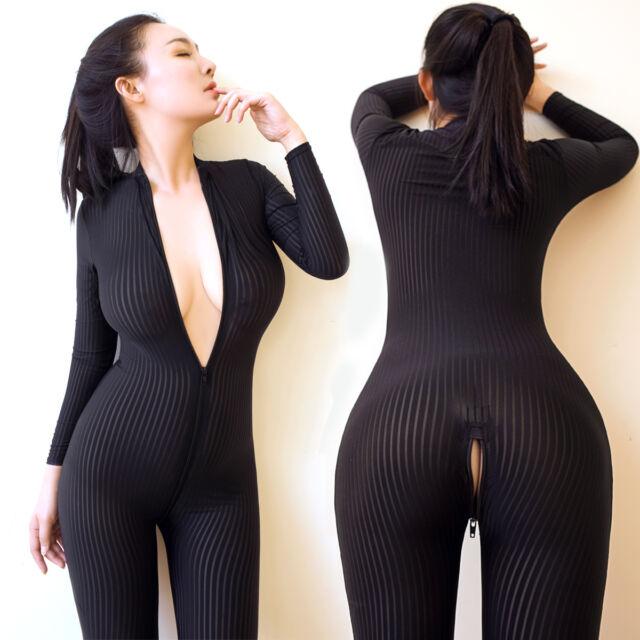 Women Black Striped Sheer Bodysuit Smooth Fiber 2 Zipper Long Sleeve  Jumpsuit A1 f52a349e4