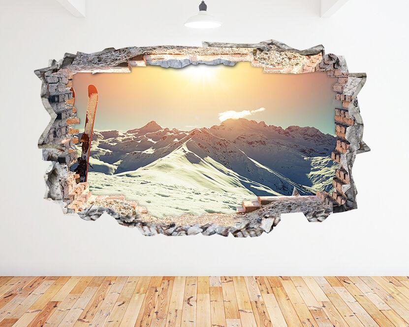N389 Skis Sunny Mountain Snowy Smashed mur Autocollant Chambre 3D Vinyle enfants