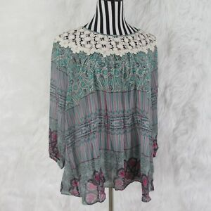 Umgee-Boho-Peasant-Multi-Color-Crochet-Long-Sleeve-Top-Size-1XL