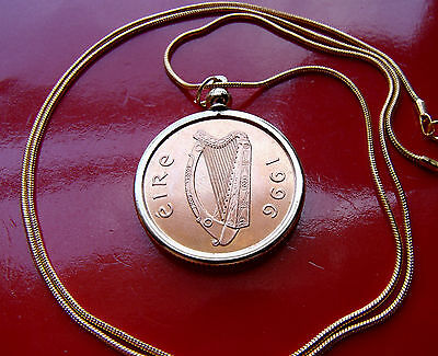 "CELTIC HARP IRISH Bird o Kells Coin Pendant  on a  24/"" Gold Filled Snake Chain"