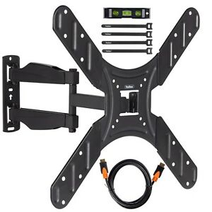 VonHaus-20-50-034-Tilt-amp-Swivel-TV-Wall-Mount-Bracket-with-HDMI-Cable-Ties-amp-Level