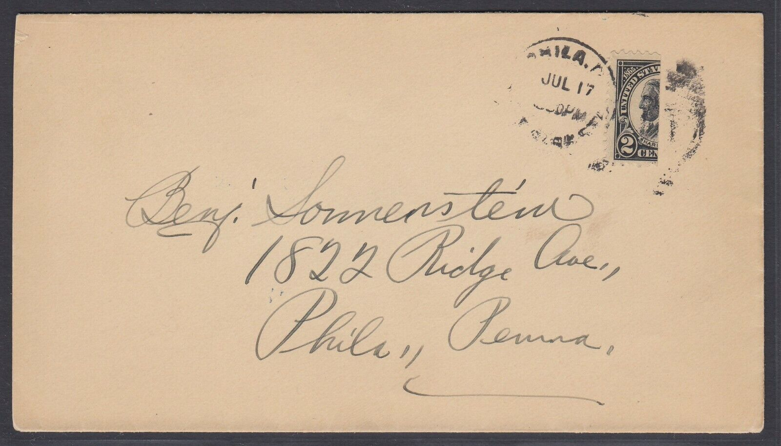 US Sc 610 - Vertical BISECT on cover from Philadelphia Pa addressed locally