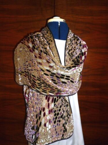 Velvet devore scarf   Pink black abstract on fawn background NEW grey mauve