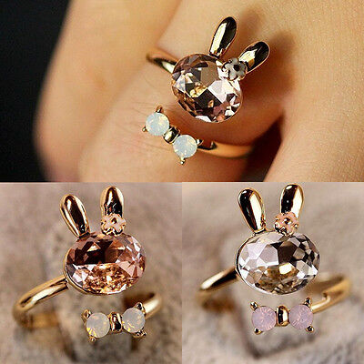 Fashion Womens Cute Bunny Rabbit Finger Ring Pretty Charming Ring Sweet Gift