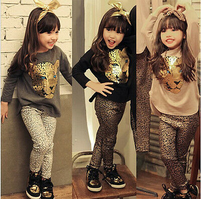 Stylish Kids Girls Leopard Long Sleeve T-shirt Tops Leggings Pants Suits Outfit