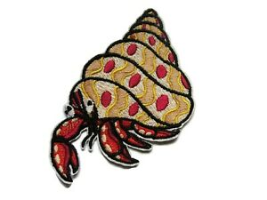 Embroidered Iron-On Applique Crab 1+1//2 inch