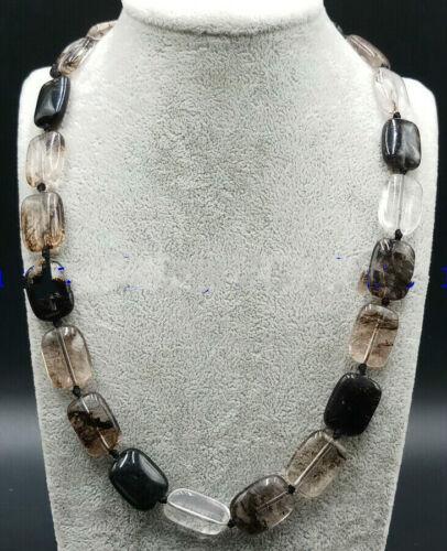 """Nouveau 13x18mm Noir Pastèque Tourmaline gemstone rectangle Perles Collier 18/"""""""