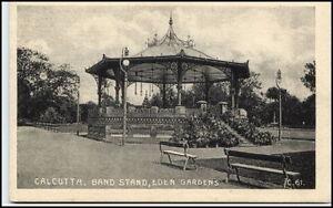 CALCUTTA-Kalkutta-Indien-India-Vintage-Postcard-1920-Band-Stand-Eden-Garden-AK