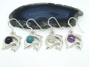 Delphin-Delfin-925-Silber-Ohrringe-Ohrhaenger-mit-Steinen-verschiedene-Farben