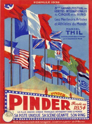 PINDER 1938 Affiche originale entoilée Litho M. ORCEL 32x42cm (Marcel THIL)