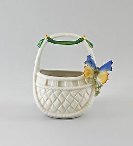Other Antique Ceramics Adroit Porcelain Basket Bowl With Butterfly Blue Ens H14cm 9997304 Fine Craftsmanship