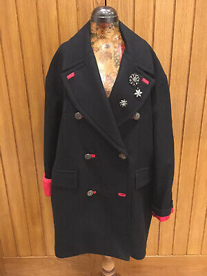Nwt H&m Wool Blend Peacoat With Brooches Size 12 Distinctive For Its Traditional Properties