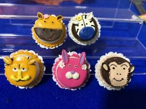 Handmade-Miniature-Dollhouse-Cartoon-Animal-Cakes-Clay-5-pcs-I