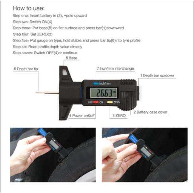 LCD Car Tyre Tread Depth Gauge Digital Meter 0-25.4mm Metric/Inch Tyres & Rims