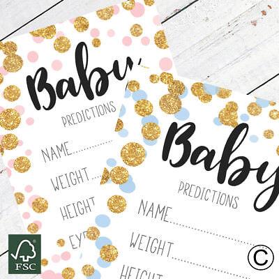 Baby Shower Games Prediction//Advice Cards A5 Rose Gold Polka Dot Boy//Girl//Unisex