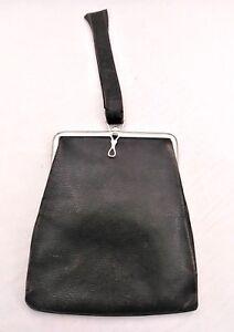 Vintage-Black-Leather-Small-Purse-Wristlet-Evening-Bag-Clutch