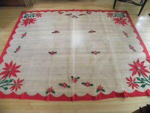 Large Rectangle Vintage Christmas Tablecloth Pointsetteas Ebay