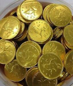 BARGAIN-100-5-10p-gold-milk-chocolate-coins-28mm-favours-gifts-pirate-party