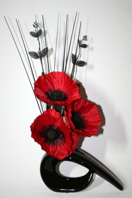 Artificial silk flower arrangement red poppies in small black modern artificial silk flower arrangement red poppies in small black modern vase mightylinksfo