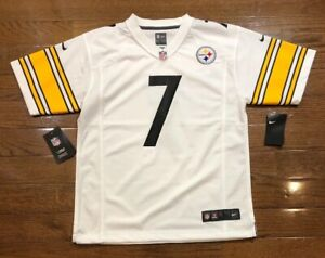 designer fashion c1ca7 44dba Details about Youth Sz Large Pittsburgh Steelers Ben Roethlisberger Jersey  White NFL Nike