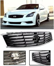 For Infiniti 08-13 G37 14-15 Q60 2Dr Midnight Black Front Bumper Hood Grille Kit