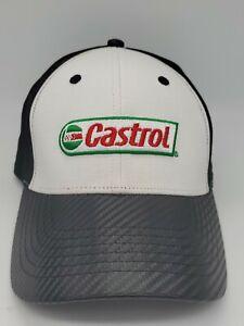 Castrol-Oil-Racing-Hat-Black-White-Adjustable-Embroidered-Strapback-Cap-New