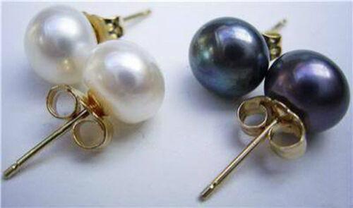 7-8 mm Blanc Naturel et Noir Perle Boucles d/'oreilles Argent Goujon AAA