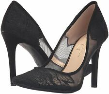 Jessica Simpson Camba 6 Mesh Embroidered Lace Sheer Black Stiletto Pump Pointed