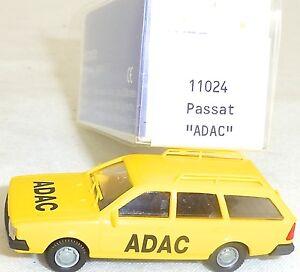 Adac-Vw-Passat-Bj-1981-Jaune-Mesureur-EUROMODELL-11024-h0-1-87-Neuf-dans-sa-boite-HO-1-a