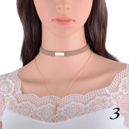 Leather Choker Bib Statement Chunky Chain Collar Necklace Women Jewelry