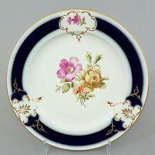 (K080) KPM Berlin Teller, um 1900, Blumendekor, kobaltblau und Gold , ø 17cm