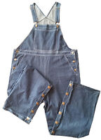 Baby Pants Adult Size Blue Denim Overalls With Snap Legs For Easy Diaper Changes