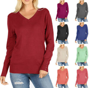 Wow-Couture-V-Neck-Long-Sleeve-Sweater-with-Sleeve-Button-Detail-S-L