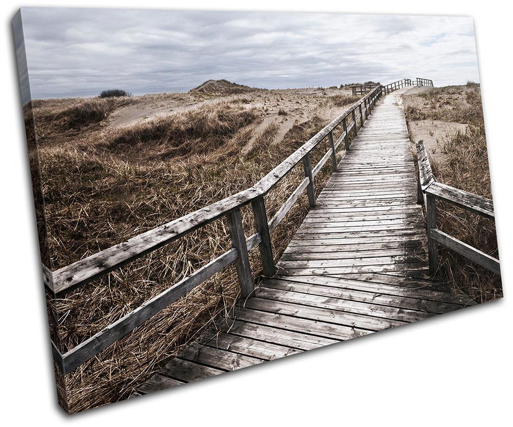 Beach Walkway Sunset Seascape SINGLE TELA parete arte foto stampa
