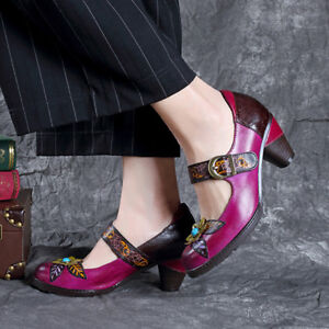 SOCOFY-Women-Leather-Pumps-Handmade-Flower-Pattern-Vintage-Soft-Shoes-Mary-Janes
