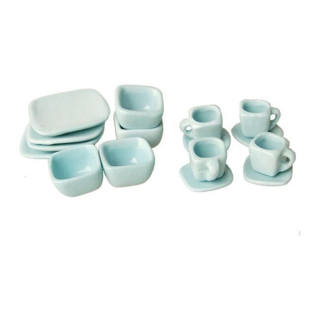 Dollhouse Miniatures 10 White Flowers Shaped Plates Ceramic Kitchenware Home Dec