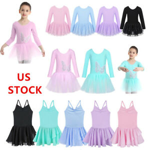 US-Kids-Girls-Sequins-Ballet-Dance-Leotards-Tutu-Dress-Gymnastics-Skirt-Costumes