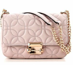 Details about Michael Kors Bag Handbag Sloan Flora Quilited Sm Chain Soft Pink New