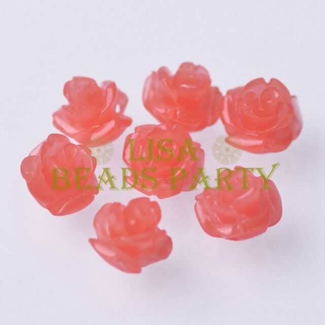 New 20pcs 10mm Rose Flower Synthetic Coral Loose Spacer Beads Watermelon Red