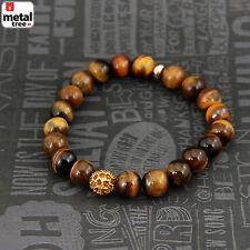 Men's Hip Hop Tiger's Eye Stone Gems Bead Elastic Stretch Wrist Bracelet KDBSB34