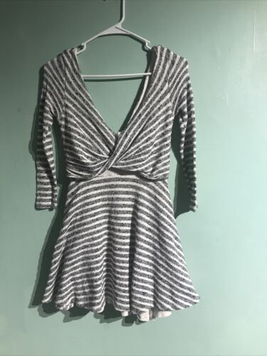 Free People Black And White Stripped Towel Dress S