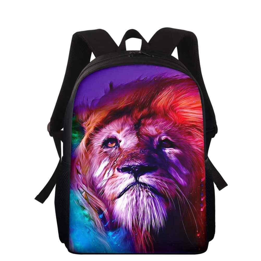 Colored Lion Backpack Boy Girl Schoolbag Shoulder Satchel Bookbags School Bag